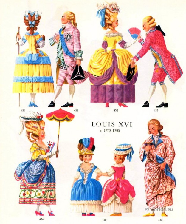 Louis XVI Fashion 1778. French Rococo costumes. Court dress.