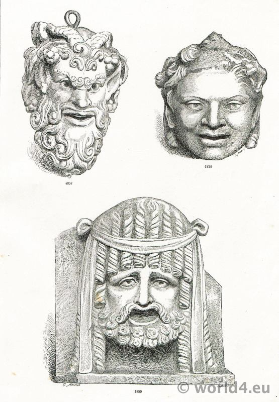 Ancient, Art, Greco, Roman, Pompeii, Theatre, masks, Satyr, Performing, masks,