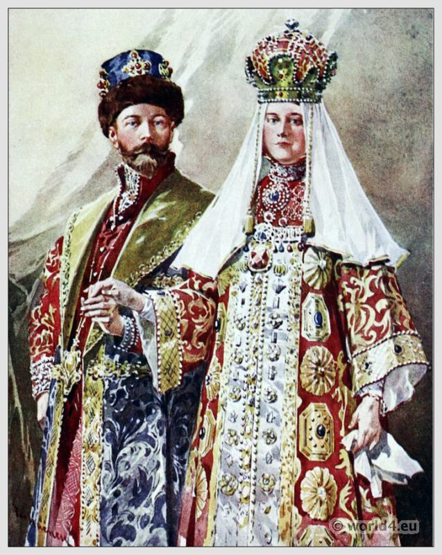 Traditional Russian costumes. Russia folk dress. Ethnic clothing.