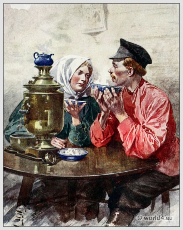 Traditional Russian costumes. Russia folk dress. Ethnic clothing. Tea from a Samovar.