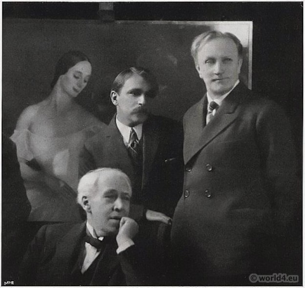 Russian Artists Portraits Sergejewitsch Stanislawski, Savely Sorine, Wassili Katschalow 1924. Russian Artists