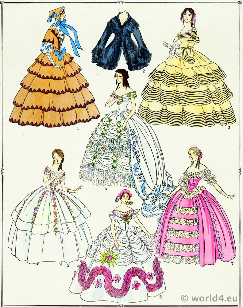 Second Empire, Gowns,fashion, Crinoline,