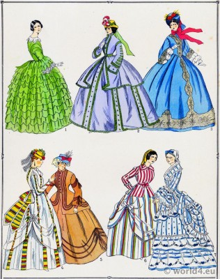 Robes, modes, second empire, costume, féminin, français,