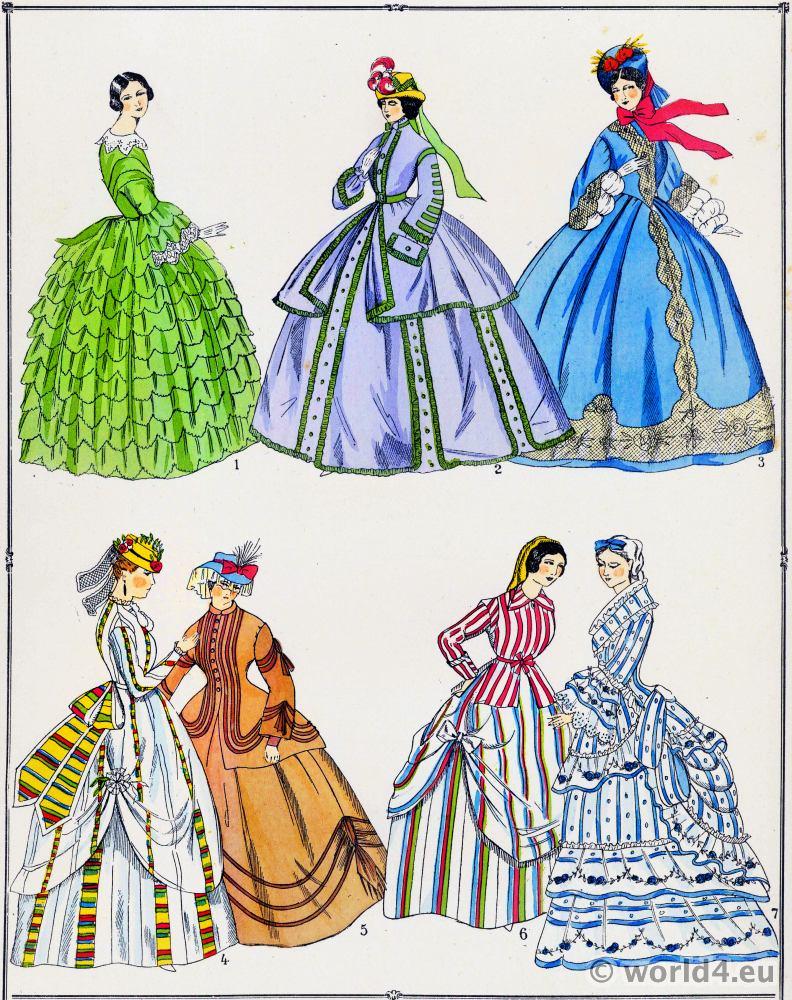 Les modes du second empire. Robes.