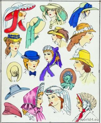 Chapeaux, costume féminin, français, modes, second empire