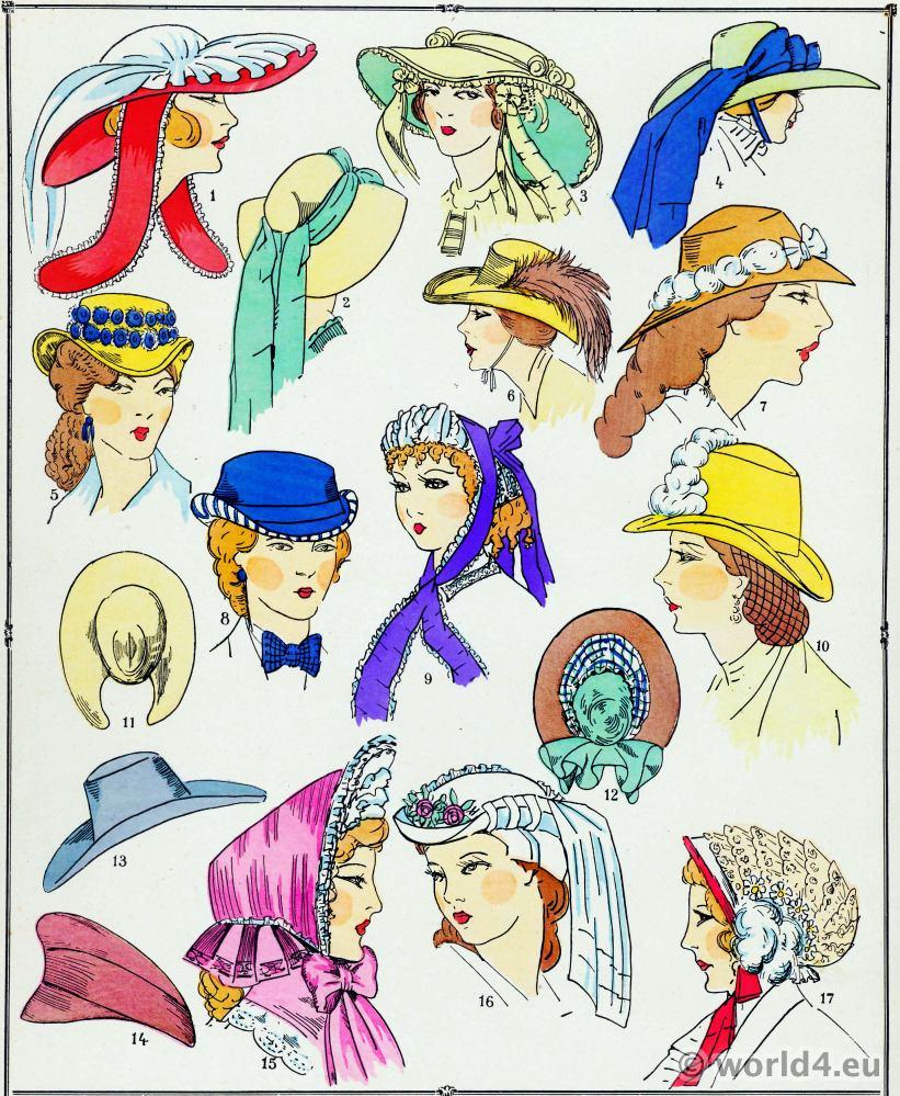 Chapeaux. Les modes du second empire.