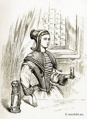 Louis XIV. Costumes. English Corset and the Crinoline 17th century fashion. Baroque Clothing.