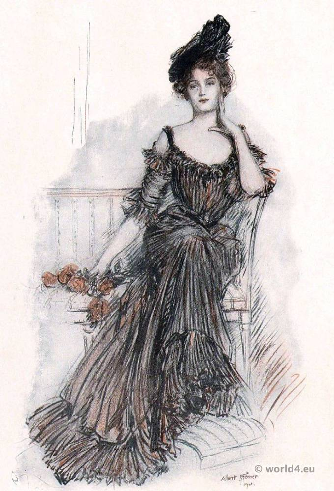 Belle Époque, American, Beauty, Albert Sterner, fashion, costume