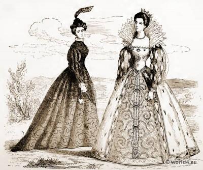 The Bernaise Headdress, and Costume of Marie Stuart. 16th century costume. Medieval Bodice. Renaissance fashion.
