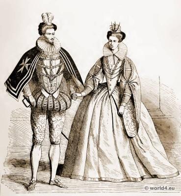 Henry III. of France. Princess Margaret of Lorraine. 16th century costumes. Medieval dresses. Renaissance court dresses. Corset Crinoline fashion.