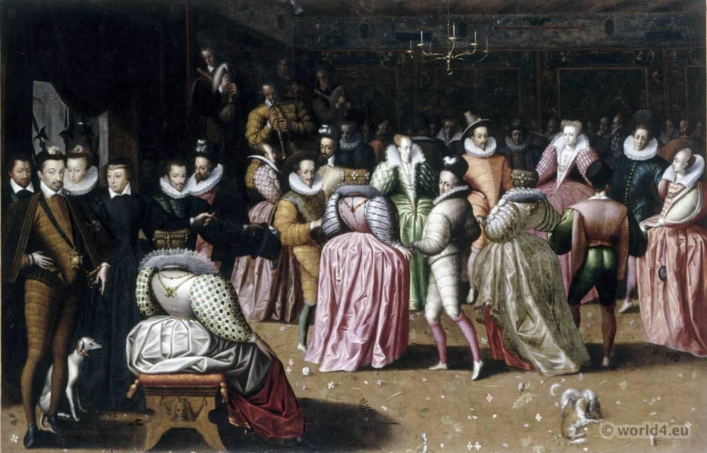 Court of Henri III de Valois. French 16th century costumes. Baroque fashion.