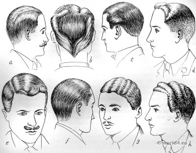 English hair styles of the 1930s. England men haircut.