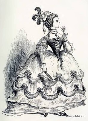 Court Dress. Louis XVI fashion. Rococo Crinoline. 18th century costume.