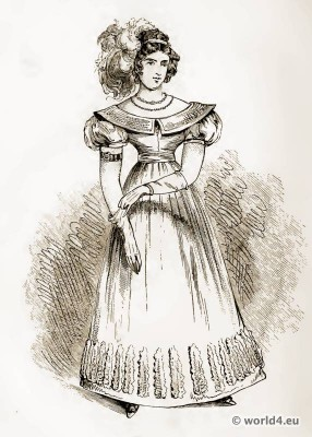 Lady of Fashion, 1827. Empire costume. Regency fashion. The corset and the crinoline.