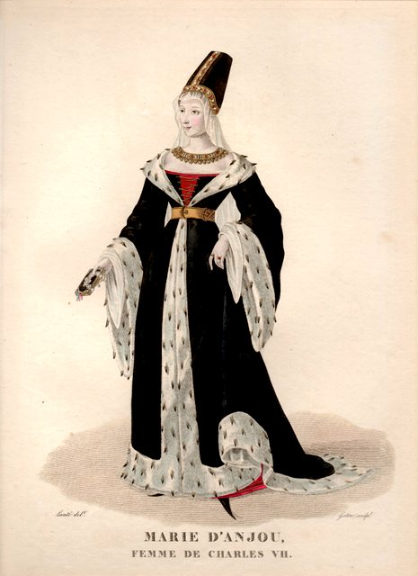 Marie d'Anjou, Medieval, fashion, costume, Burgundy, court dress,