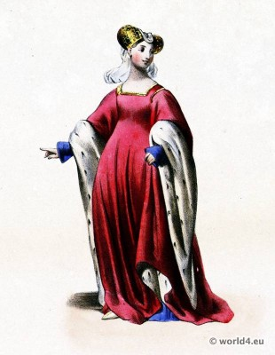 Joan of Toulouse. Medieval costume. Middle ages fashion. Jeanne Comtesse de Toulouse. Horned Hennin