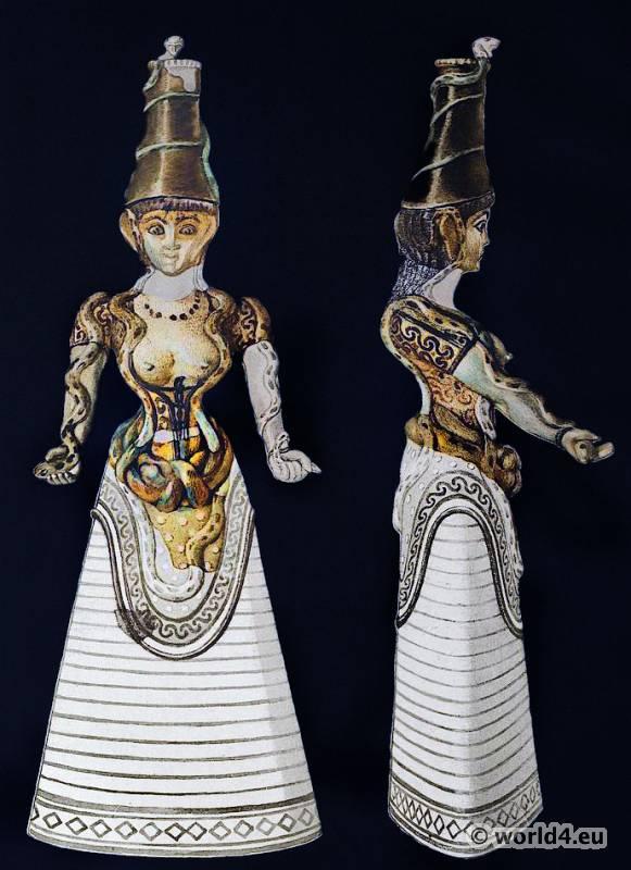 Snake, Goddess, Ancient, Minoan, Matriarchy, Female, Costume, Antique, Greek, statue