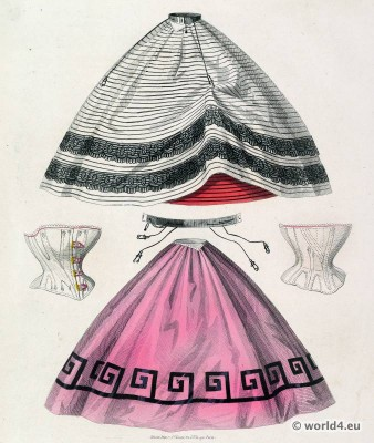 Petticoats, corsets and skirt fashion. Victorian Crinoline. Les Modes Parisiennes