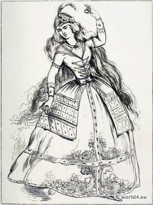 Ancient Persian costume. Dancing girl from persia. The Corset and the Crinoline.