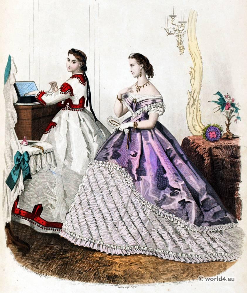 Mode Illustrée, second empire, Corset, Crinoline, Victorian, Fashion, Farthingale.