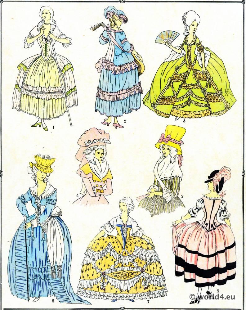 Élégantes, modes, costume, façon, Louis XVI, Rococo,