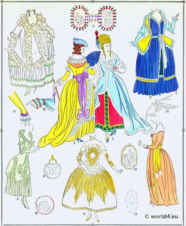 Robes, modes, costume, façon, Louis XVI, Rococo,