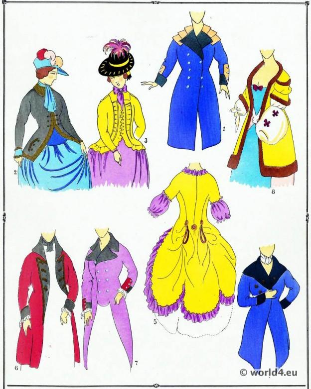 Manteaux, modes, costume, façon, Louis XVI, Rococo,