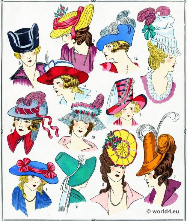 Chapeaux, modes, costume, façon, Louis XVI, Rococo,