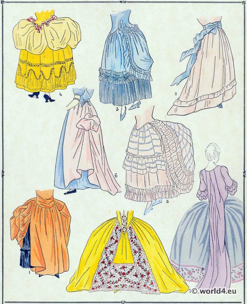 Jupes, modes, costume, façon, Louis XVI, Rococo,