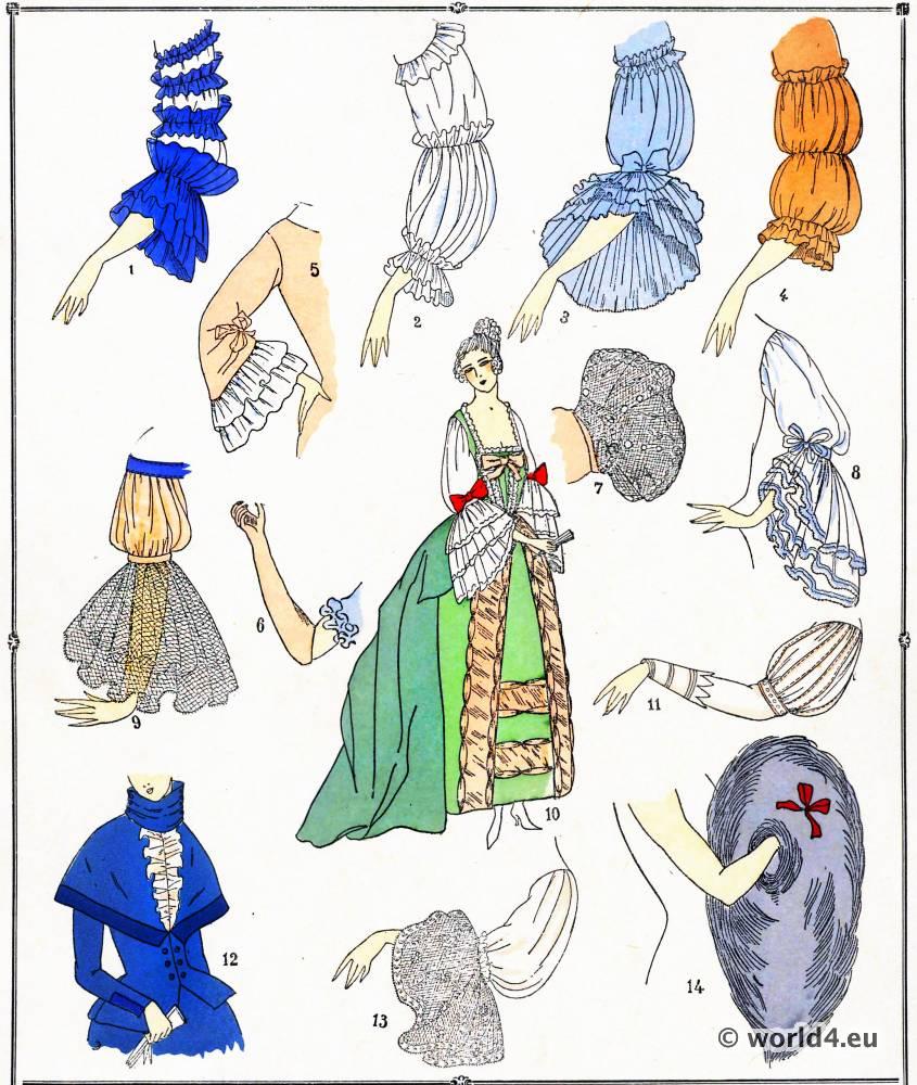 Manches, modes, costume, façon, Louis XVI, Rococo,