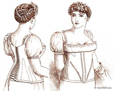 Corset à la Ninon 1810. 19th century bodice. Empire regency fashion underwear.