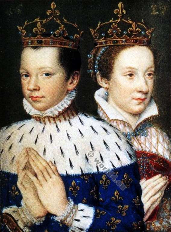 Francis II Dauphin of France. Mary, Queen of Scots. Coronation costumes. 16th century Renaissance fashion.