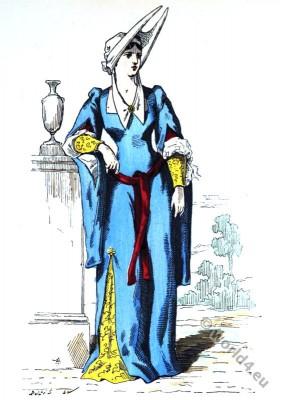 fashion, history, middle ages, Gothic, Burgund, Hennin,