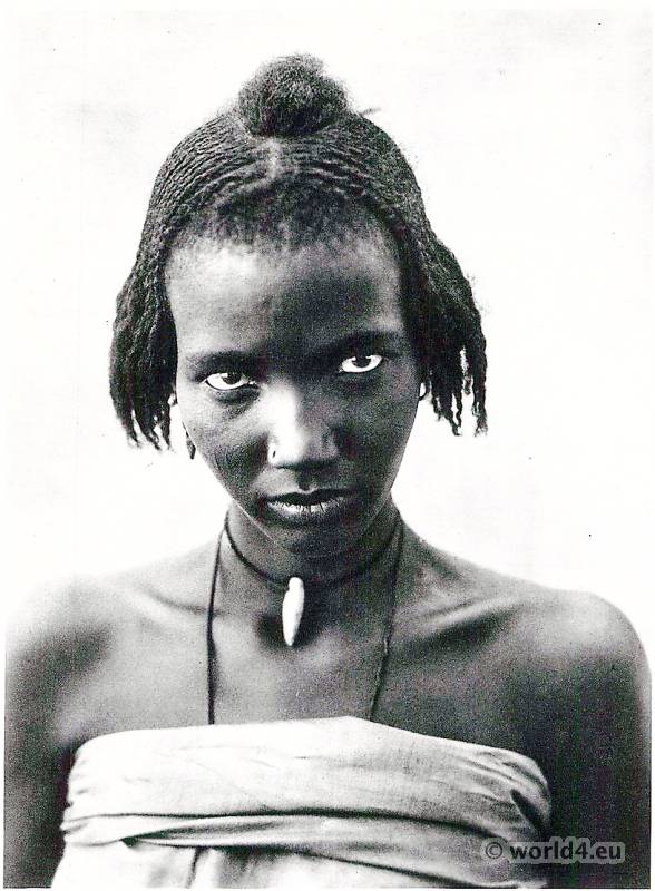 Kanembu Girl, Lake Tchad. Traditional African Braids Hairdressing. Hugo Adolf Bernatzik.