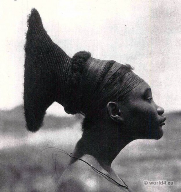 Traditional African hairstyle. Africa Zaire Tribal costume. Hugo Bernatzik. Mangbetu Central Africa