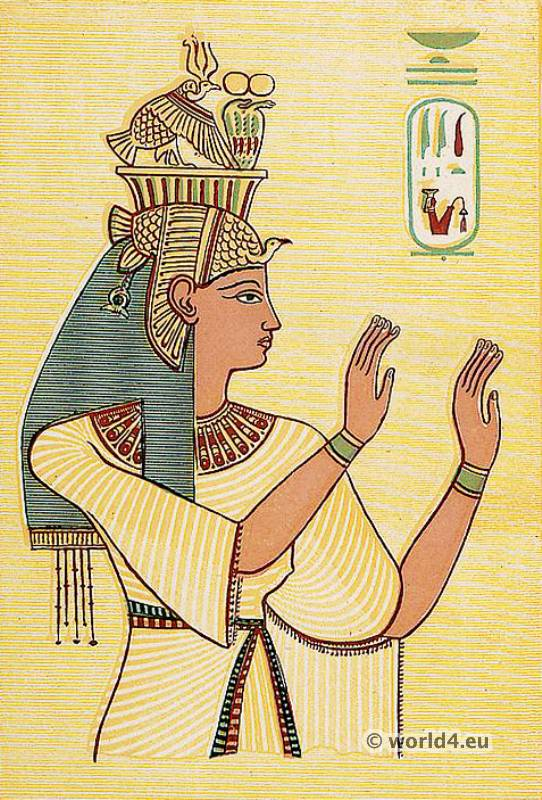 Ancient Egyptian Queen. Ancient Egyptian Costume Plate. Tai-Ti, Queen of Amenhotep III.