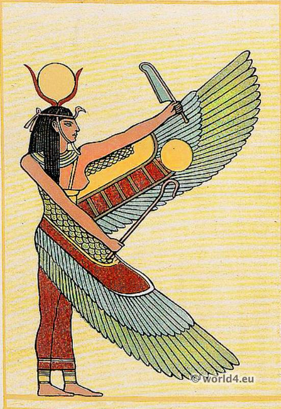 Ancient Egyptian Queen. Ancient Egyptian Costume Plate. Winged Figure. Isis or Nephthys.