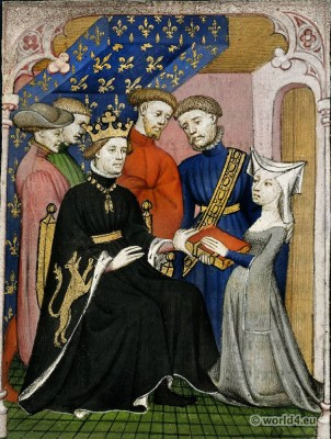 Christine de Pizan. Charles VI the Beloved. Middle ages costume history. 15th century fashion.