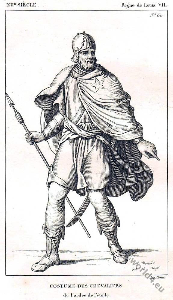 """Costume des Chevalier de l'Ordre de L""""Etoile, XIIe siècle costume, Middle ages, knight, Knighthood"""