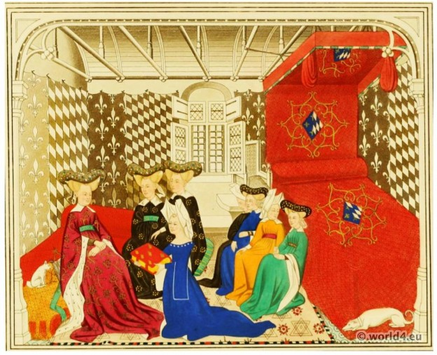 Christine de Pizan. Renaissance costumes. Burgundy fashion. Hennin. Middle Ages nobility clothing
