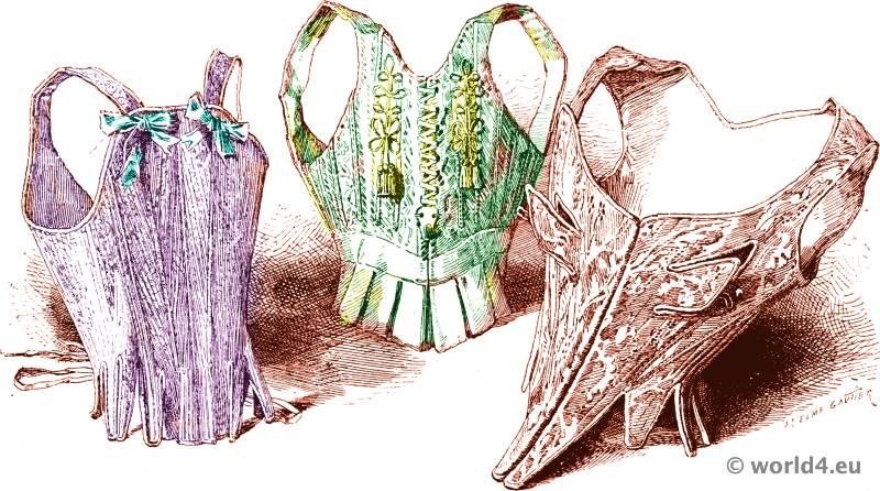Corset bodice fashion. 18th century bodice and underwear. Louis-XIV, Louis XV costumes.