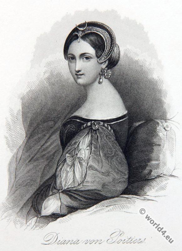 Diane, Poitiers, Mistress, 16th century noblewoman costume.