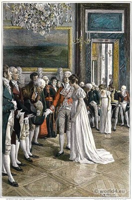 French Empire style costumes. Ambassadors at the Tuileries. Empress Josephine Bonaparte.