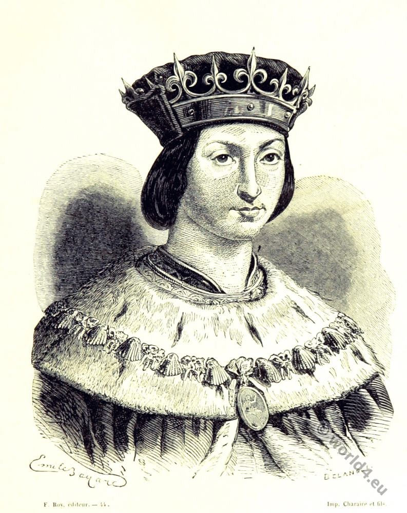 Louis XII. King of France. 16th century fashion. Renaissance costumes.