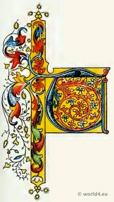 initial letter, Middle, ages, decoration, Medieval, Book, illustration,