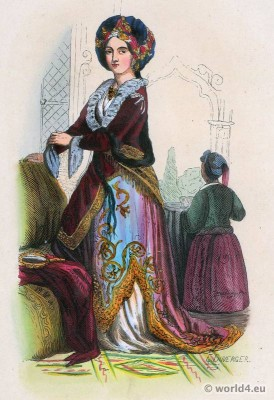 Noble woman costume. Turkey. Ottoman Empire clothing.