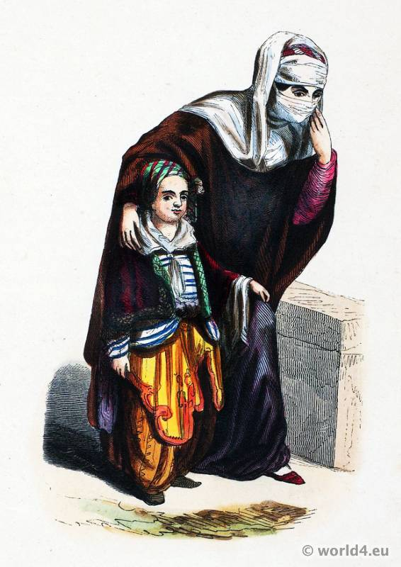 Woman with child. Ottoman Empire costumes. Ethnic Costume Turkey.
