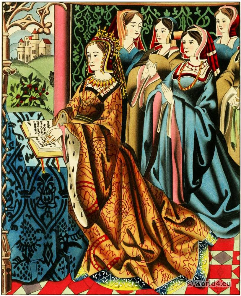 Margaret, Anjou, Queen, 15th century, clothing, court, costumes, England, fashion, middle ages, medieval