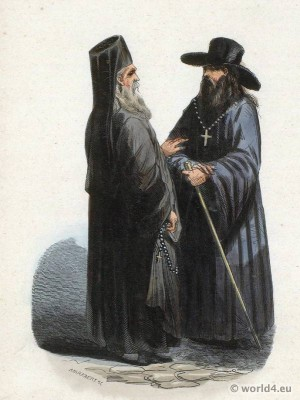 Russian priest and monk costumes. Clergy costumes russion orthodox.