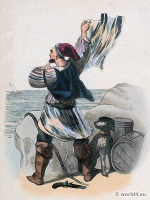 Smuggler, Grand Bretagne, Traditional Bretagne national costume, fashion history,